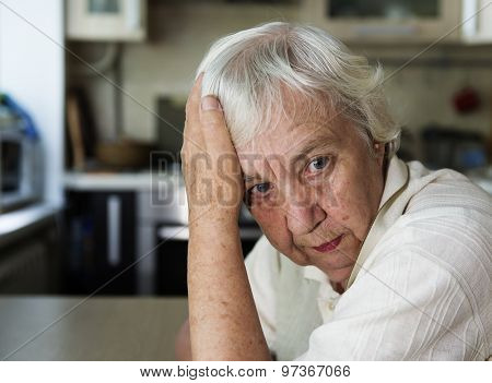 Senior woman pensive and worried