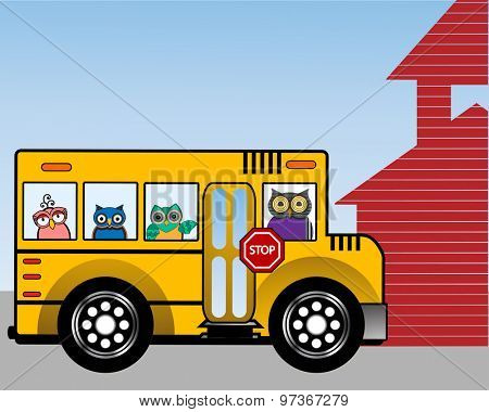 School bus with wise owls in the windows school house to the side