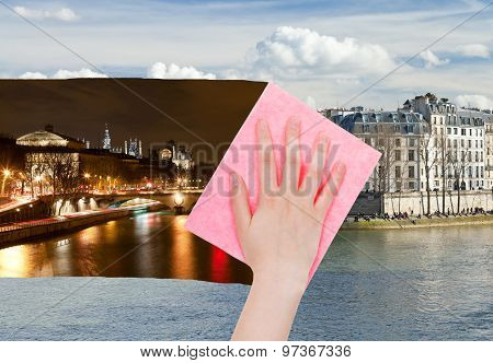 Hand Deletes Night View Of Paris By Pink Cloth