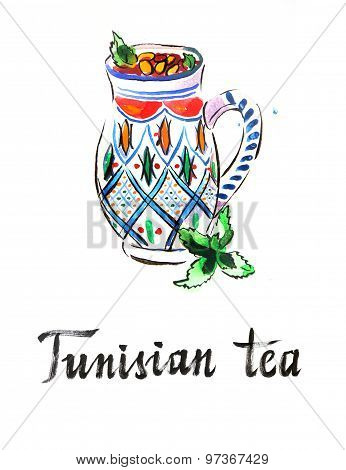 Watercolor Tunisian Tea With Pine Nuts Or Almond