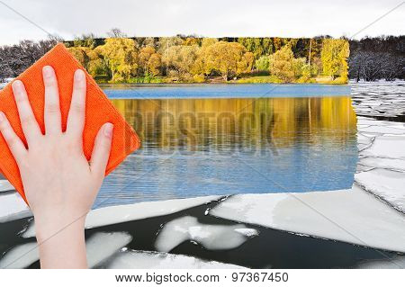 Hand Deletes Ice Floe In River By Orange Cloth