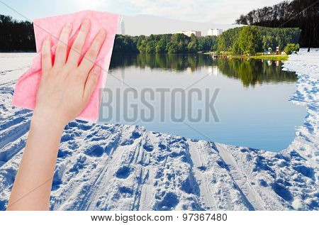 Hand Deletes Snow Field On Frozen River By Cloth