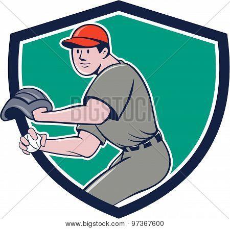 Baseball Player Outfielder Throwing Ball Crest Cartoon