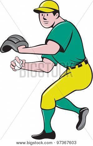 American Baseball Player Outfielder Throwing Ball Cartoon