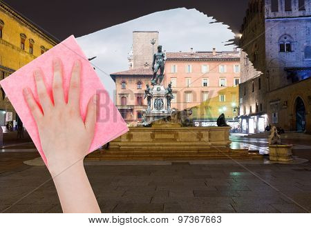 Hand Deletes Bologna Night Cityscape By Pink Cloth