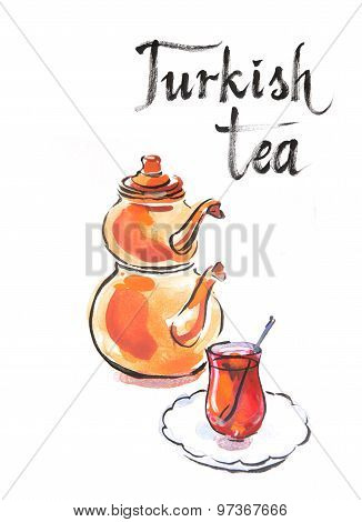 Watercolor Turkish Tea With Turkish Kettle