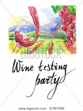 Watercolor Wine Testing Party
