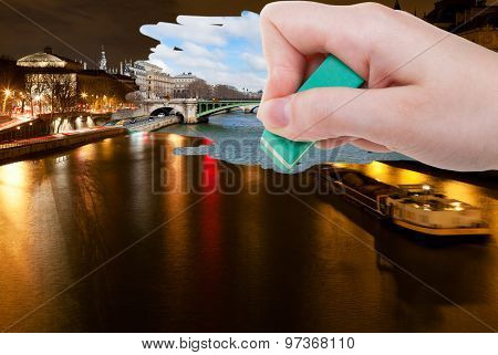Hand Deletes Night Scenery Of Paris City By Eraser