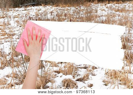 Hand Deletes Frozen Swamp By Pink Rag