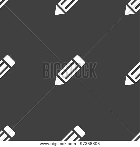 Pencil Icon Sign. Seamless Pattern On A Gray Background. Vector