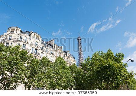 Paris - Parisian Building And Eiffel Tower