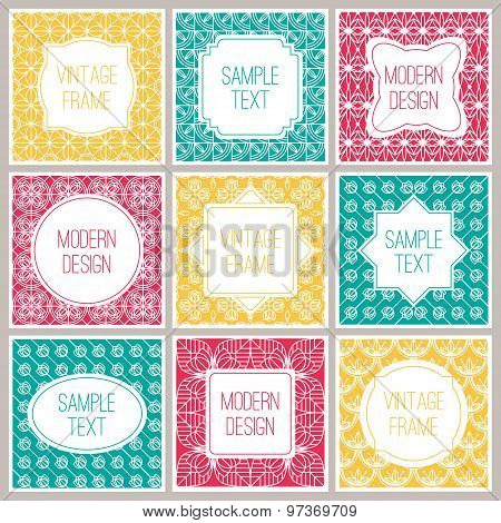 Set of graphic design frames for logo and badges. Abstract outline patterns.