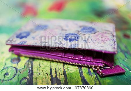 Beautifull coloured wallet - shallow depth of field