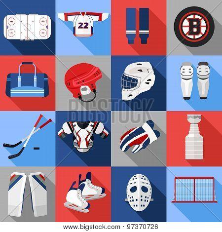 Set of flat ice hockey icons.