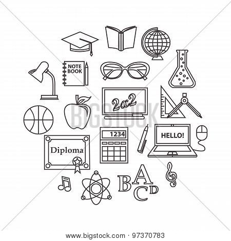School and education outline icons set.