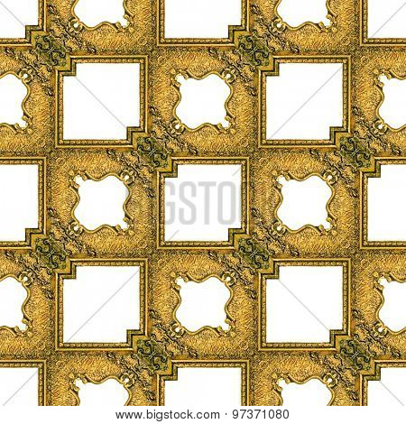 Golden Gilded Picture Frame Seamless Pattern