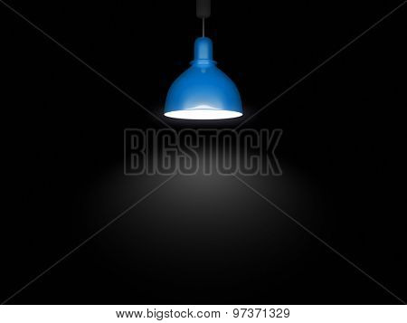 An image of a blue lamp in front of a black background