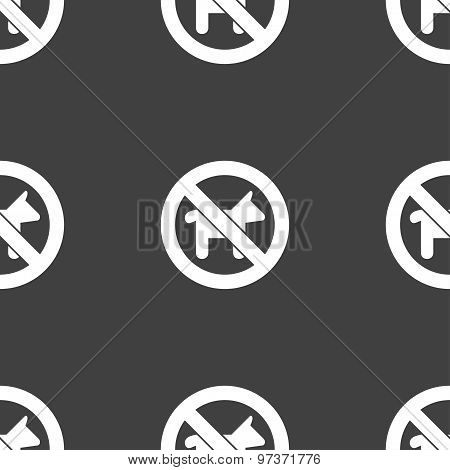 Dog Walking Is Prohibited Icon Sign. Seamless Pattern On A Gray Background. Vector