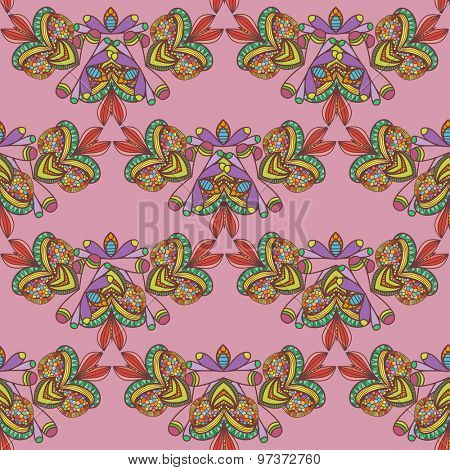 Seamless pattern. Hand drawn seamless pattern from ethnic elements on pink background. Can be used for  cloth design,web, wallpaper, wrapping
