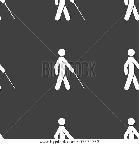 Blind Icon Sign. Seamless Pattern On A Gray Background. Vector