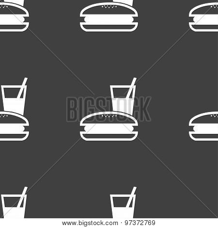 Lunch Box Icon Sign. Seamless Pattern On A Gray Background. Vector