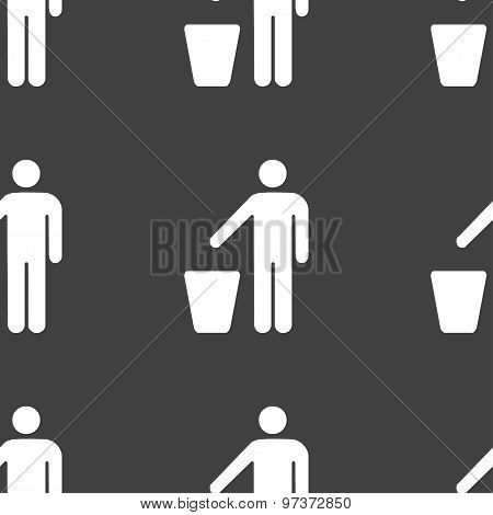 Throw Away The Trash Icon Sign. Seamless Pattern On A Gray Background. Vector