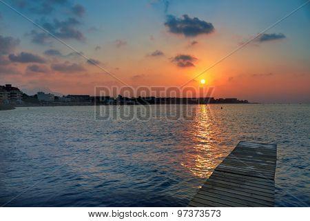Denia beach sunset dusk in Mediterranean at Alicante Spain