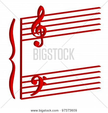 Musical Stave On White Background