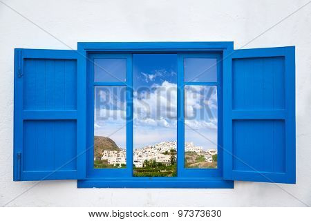 Almeria view from blue window of Mojacar photo mount
