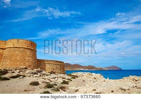 Almeria Cabo de Gata fortress Los Escullos beach of Spain