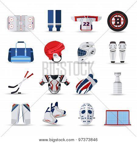 Set of flat ice hockey isolated icons.