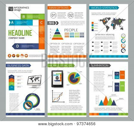 Set of corporate business stationery brochure templates. Flat style design for flyer, report, placar
