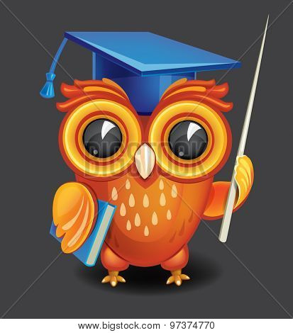 Wise owl in graduation cap