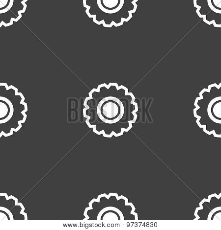 Cogwheel Icon Sign. Seamless Pattern On A Gray Background. Vector