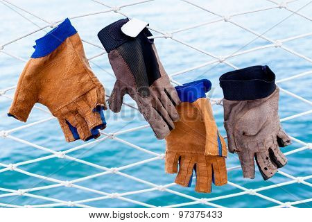 Sailing Glove Hanging On The Nets  Of Sailing Yacht.