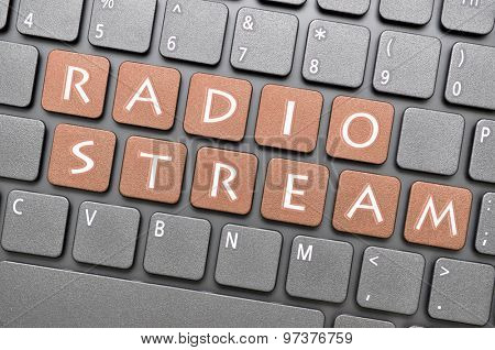 Brown radio stream key on keyboard
