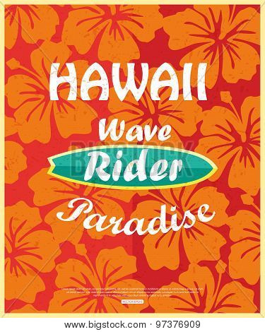 Retro surfing typographical poster with place for text for your design. Vector illustration.