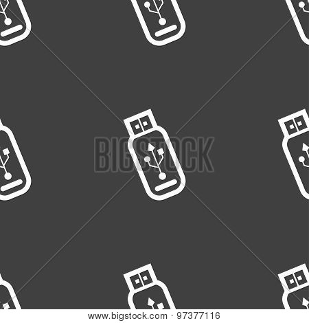 Usb Flash Drive Icon Sign. Seamless Pattern On A Gray Background. Vector