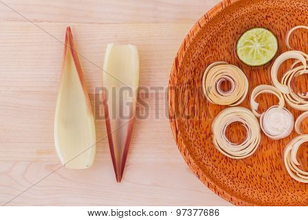 Banana Blossom Healthy Vegetable Alternative And Clean Food On Wooden Panel.