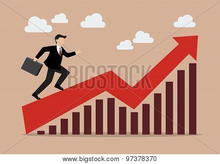 Business Man Running On Growing Graph