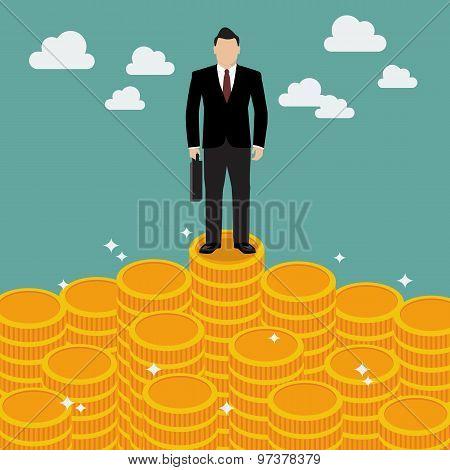 Businessman Standing On Money
