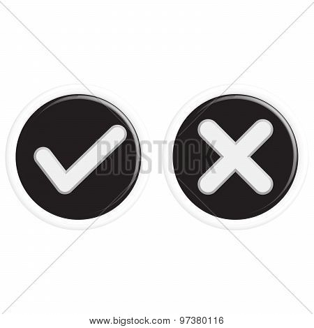 Buttons Of Ticks And Crosses