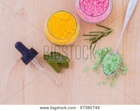 The Spa Ingredient Sea Salt And Herb On Wooden Table .