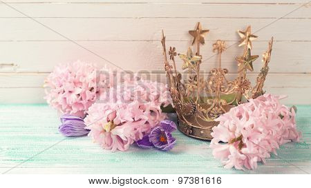 Background With Flowers And Decorative Crown