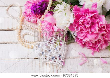Decorative White Heart, Pearl And Fresh Pink And White Peonies
