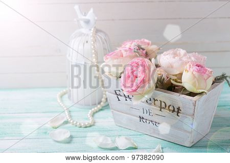 Pink Roses In Wooden Pot  And Candle