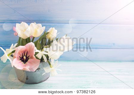Pink And White Tulips And White Narcissus Flowers