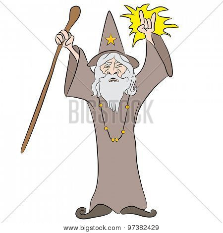 An image of a cartoon wizard casting a spell.