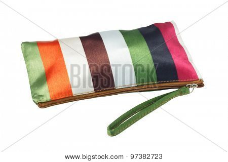 Colorful Striped Cosmetic Bag on White Background