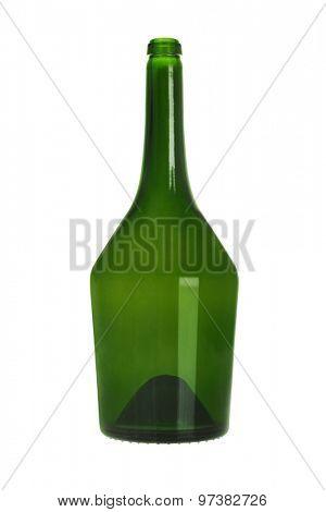 Green Glass Bottle on White Background